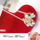 Korean Jewelry [67221] Cute Sparkling 5 Rings + Necklace Set  (value @ $13.5)