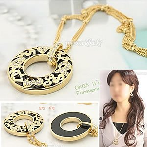 Korean Jewelry [67219] Luxurious Black Gold Necklace  (value @ $13.5)