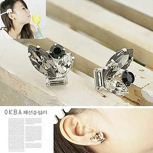 Korean Jewelry [67205] Sparkling Colorful Crystals Earrings - Black gray tones (value @ $11.5)