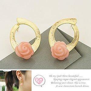 Korean Jewelry [67242] Pretty Pink Rose Earrings  (value @ $8.5)