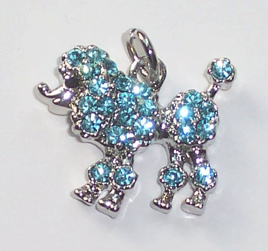 Poodle Dog with Light blue crystal charm/pendant C018 - Free Shipping Charms
