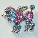 Poodle Dog with Pink n Blue color crystal charm/pendant C023 - Free Shipping Charms