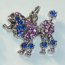 Poodle Dog with Blue n Pink color crystal charm/pendant C025 - Free Shipping Charms