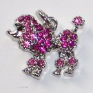 Poodle Dog with Pink color crystal charm/pendant C027 - Free Shipping Charms