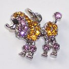 Poodle Dog with Yellow n Pink color crystal charm/pendant C028 - Free Shipping Charms