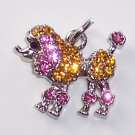 Poodle Dog with Pink n Yellow color crystal charm/pendant C030 - Free Shipping Charms