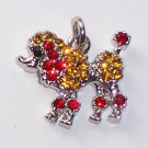 Poodle Dog with Red n Yellow color crystal charm/pendant C031 - Free Shipping Charms