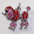 Poodle Dog with Red n Pink color crystal charm/pendant C029 - Free Shipping Charms