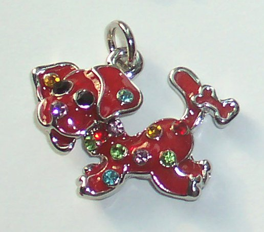 Red Dog with crystal charm/pendant C033 - Free Shipping Charms