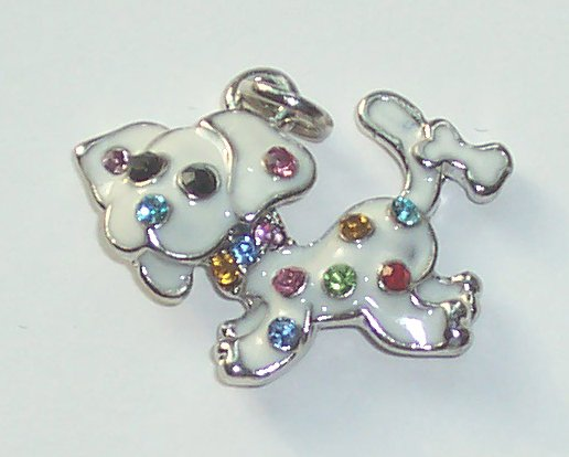 White Dog with crystal charm/pendant C034 - Free Shipping Charms