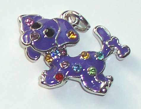 Purple Dog with crystal charm/pendant C036 - Free Shipping Charms