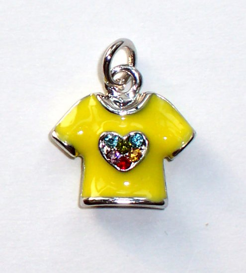 Yellow T-shirt with heart shape mix color Crystals Charms/Pendants C004 - Free Shipping Charms