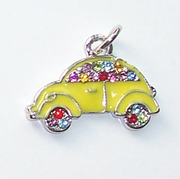 Yellow Car shape with Crystals Charms/Pendants C014 - Free Shipping Charms