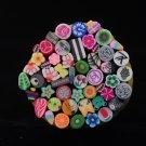 New 50 pcs Nail Art Fimo Fruit Flower Decoration Slice Rod Sticks DIY
