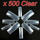 New 500 pcs Clear French Acrylic False Artificial Nail Art Tips With 10 Sizes