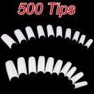 New 500 Pcs French Acrylic Style False Nail Art Half Tips White