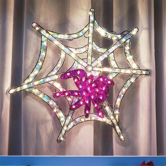 Lighted Seasonal Holographic Spiderweb