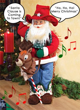 Animated Cowboy Santa With Reindeer