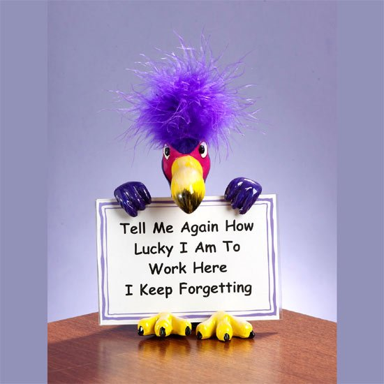 Feathered Attitude Sign Holders - Work here