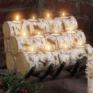 Birch Log Candleholders