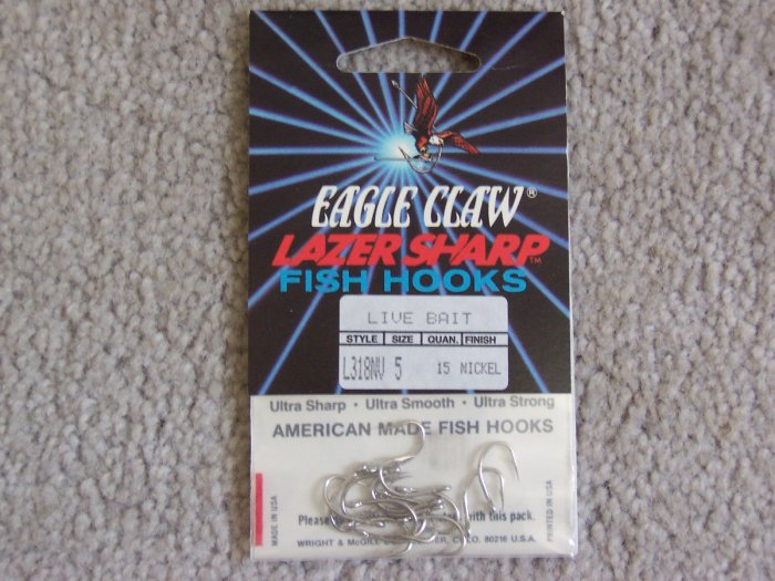Lot of 300 Style L318NV Eagle Claw Hooks NEW in packages - size 5 - Nickel