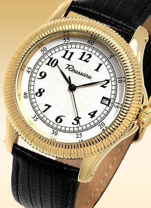 ROUSSEAU MUSE MENS 20J AUTOMATIC LUXURY GOLD TONE WATCH NEW LEATHER STRAP