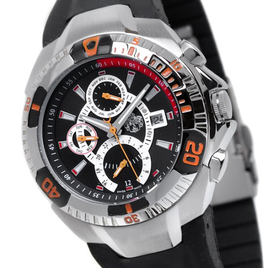 SUG FALCON MENS SWISS MULTIFUNCTION QUARTZ WATCH NEW S.U.G. BLACK FACE