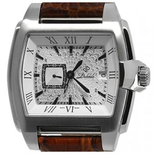 DUBOULE OXFORD MENS AUTOMATIC WATCH NEW SILVER BROWN LEATHER