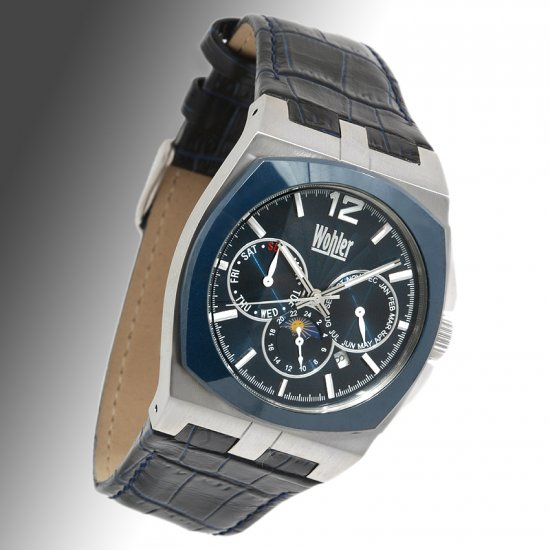 WOHLER PAULSEN II MENS 21J AUTOMATIC STAINLESS STEEL WATCH BLUE NEW BLUE FACE and BLUE LEATHER STRAP