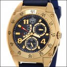 SUG ROYALE MENS SEIKO VD86 RETROGRADE QUARTZ MOVEMENT GT STAINLESS STEEL WATCH NEW BLUE S.U.G.