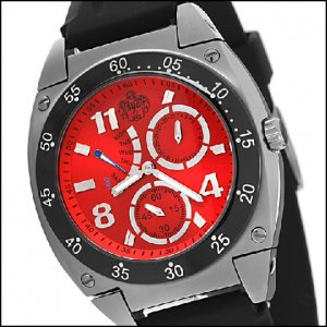 SUG ROYALE MENS SEIKO VD86 RETROGRADE QUARTZ MOVEMENT STAINLESS STEEL WATCH NEW RED S.U.G.