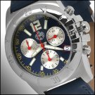 SUG ANTHEM MENS SWISS RONDA CHRONOGRAPH QUARTZ MOVEMENT STAINLESS STEEL WATCH NEW BLUE-SILVER S.U.G.