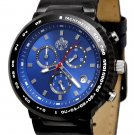 SUG HEAT MENS SWISS ISA CHRONOGRAPH QUARTZ MOVEMENT LEATHER WATCH NEW BLUE S.U.G.
