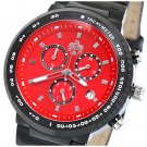 SUG HEAT MENS SWISS ISA CHRONOGRAPH QUARTZ MOVEMENT LEATHER WATCH NEW RED S.U.G.