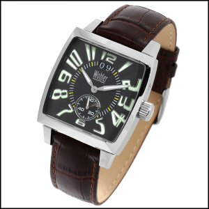 WOHLER BRETANO MENS 20J AUTOMATIC WATCH NEW BLACK FACE , LEATHER STRAP, FREE USA S-H