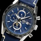 S.U.G. CHROME MEN'S 21J AUTOMATIC WATCH NEW BLUE CARBON FIBER DIAL SUG LEATHER STRAP