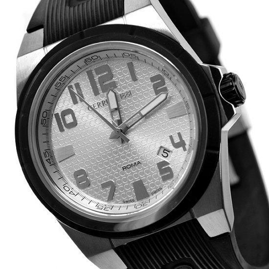 Cerruti 1881 Men's Roma Campione Swiss Quartz Watch Silver New Rubber