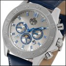 S.U.G. LEGEND MEN'S 21J AUTOMATIC WATCH NEW SILVER DIAL SUG LEATHER STRAP