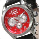 S.U.G. ILLUSIONS MEN'S 21J AUTOMATIC WATCH NEW RED-SILVER DIAL SUG LEATHER STRAP