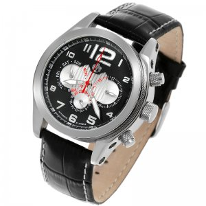 S.U.G. ILLUSIONS MEN'S 21J AUTOMATIC WATCH NEW BLACK-SILVER DIAL SUG LEATHER STRAP