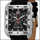 S.U.G. LUNGE MEN'S CITIZEN QUARTZ CHRONOGRAPH MOVEMENT WATCH NEW BLACK DIAL SUG LEATHER STRAP