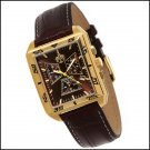 S.U.G. LUNGE MEN'S CITIZEN QUARTZ CHRONOGRAPH WATCH NEW BROWN DIAL GOLD TONE CASE SUG