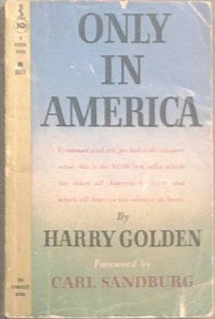 Only In America Harry Golden 1959 Paperback