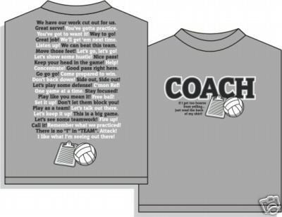 COACHISMS VOLLEYBALL T-SHIRT MEDIUM NEW