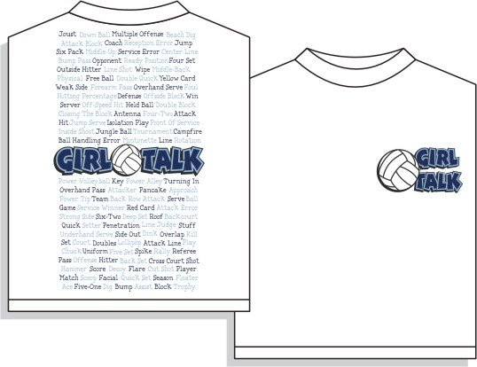 GIRL TALK VOLLEYBALL T-SHIRT MEDIUM NEW