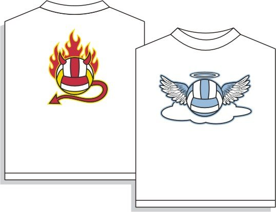 ANGEL/DEVIL VOLLEYBALL T-SHIRT SMALL NEW volley ball