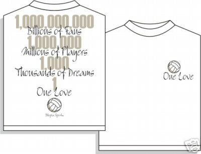 ONE LOVE VOLLEYBALL T-SHIRT MEDIUM NEW