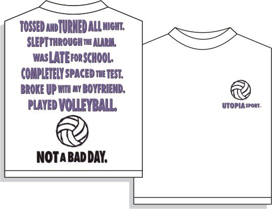 NOT A BAD DAY VOLLEYBALL T-SHIRT LARGE NEW FREE SHIPPING