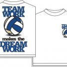 VOLLEYBALL TEAMWORK T-SHIRT MEDIUM NEW