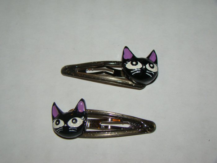 Girls black cat hair clips